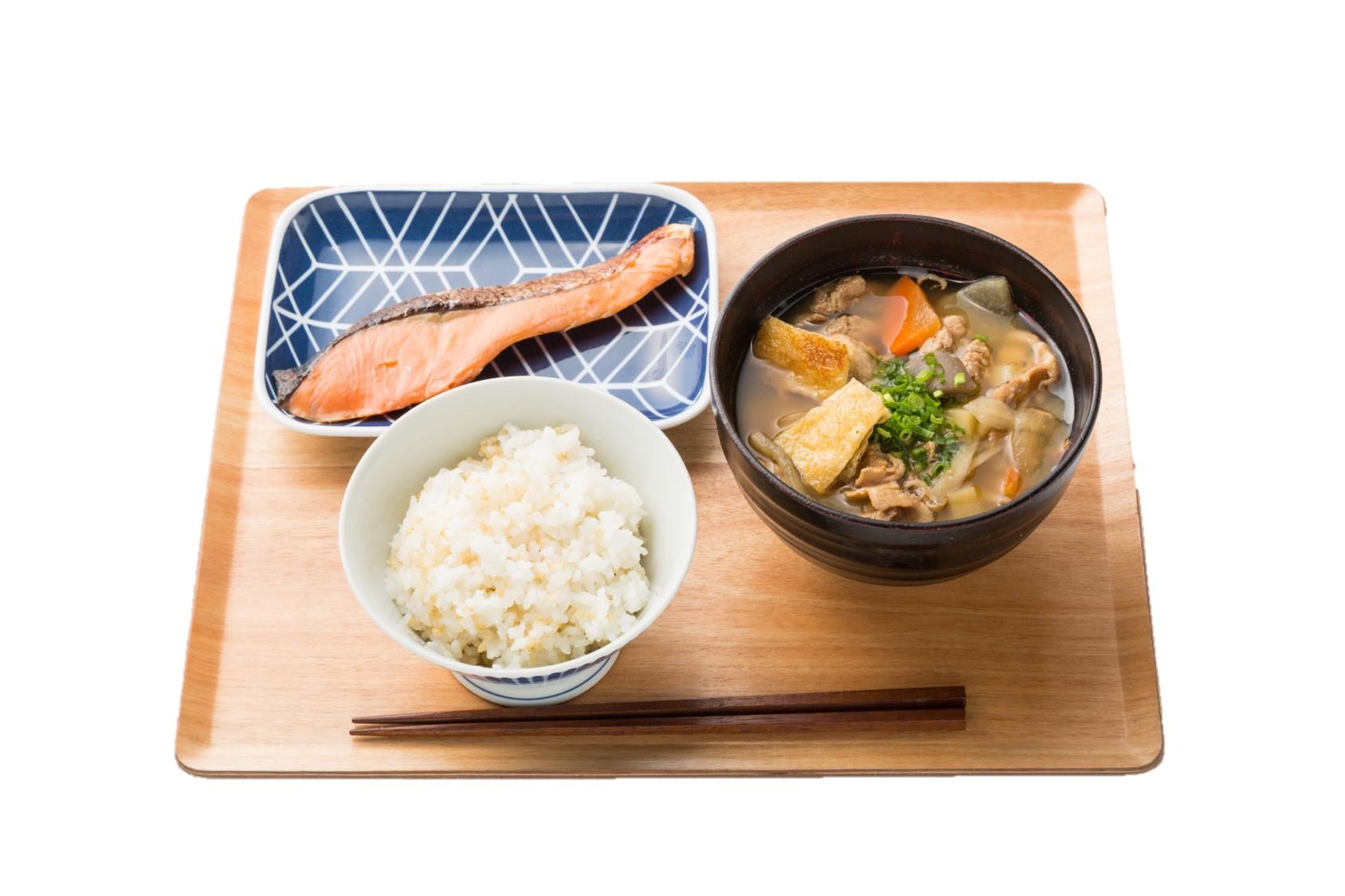 安芸広島贅沢豚汁お膳 鮭の西京焼き